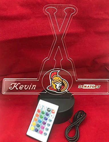 Ottawa Beautiful Handmade Acrylic Personalized Senators Hockey Sticks Light Up Light Lamp LED, Our Newest Feature - It's WOW, Comes With Remote,16 Color Options, Dimmer, Free Engraved, Great Gift