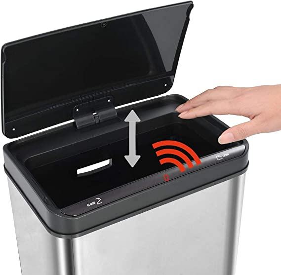vidaXL Sensor Mülleimer Automatisch 50L Edelstahl Abfalleimer Papierkorb