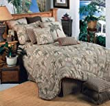 Palm Grove Tropical Bedding 5 Piece Queen Size Comforter Set & 1 Matching Palm Grove Bathroom Shower Curtain - Includes: (1 Queen Size Comforter, 2 Pillow Shams, 1 Bedskirt, 1 Square Accent Pillow, 1 Shower Curtain) - Decorate your Bedroom and Bathroom! -
