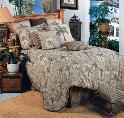 Set Tree Grove - Palm Grove Tropical Bedding 5 Piece Queen Size Comforter Set & 1 Matching Palm Grove Bathroom Shower Curtain - Includes: (1 Queen Size Comforter, 2 Pillow Shams, 1 Bedskirt, 1 Square Accent Pillow, 1 Shower Curtain) - Decorate your Bedroom and Bathroom! - SAVE BIG ON BUNDLING!