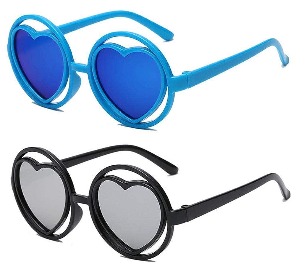 WODISON 6 Pack Party Heart Shape Kids Sunglasses for Boys Girls Reflective Mirror Lens Plastic Frame