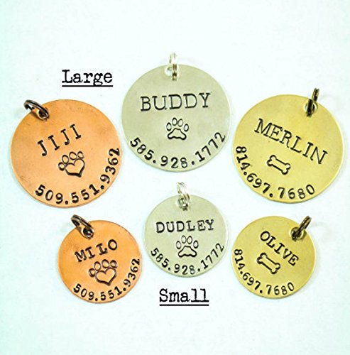 Personalized Pet Tag - DII ABC - Dog Cat ID - Handstamped Handmade - 1 1/8 7/8 Inch Discs – New Puppy Kitten Identification Lost - Change Name Number - Fast 1 Day Shipping (Tags Large New)