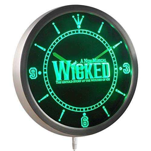 (Time2LightUp Wicked The Musical Bar Beer 10 Inches Round LED Neon Wall Clock)