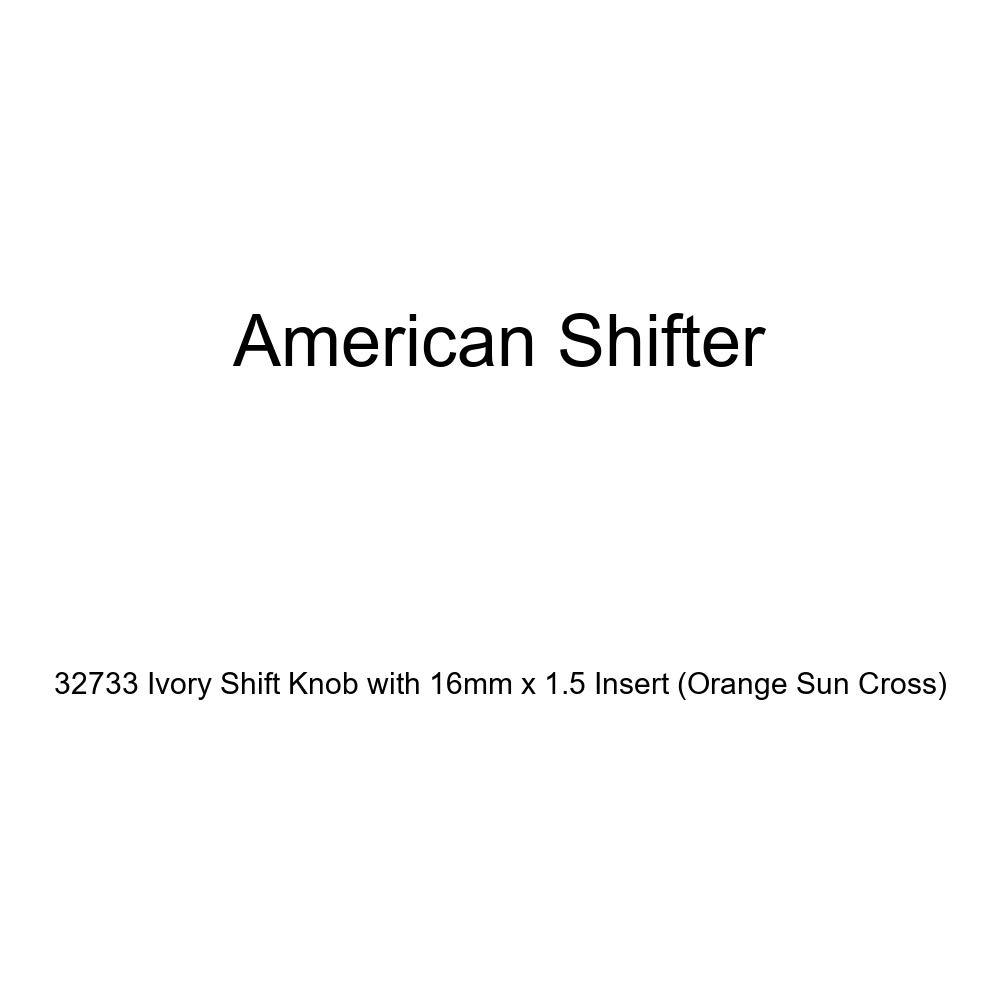 American Shifter 32733 Ivory Shift Knob with 16mm x 1.5 Insert Orange Sun Cross