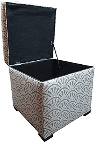 Sole Designs Bonjour Themed Series Tami Collection Platinum Finish Upholstered Lift Top Storage Ottoman
