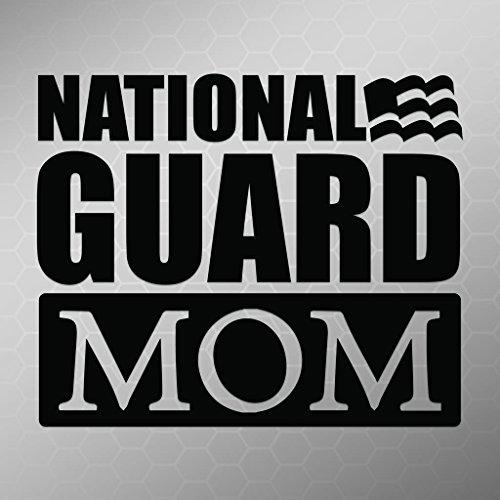 (National Guard Mom Flag Vinyl Decal Sticker | Cars Trucks Vans Walls Laptops Cups | Black | 5.5 X 4.5 Inch | KCD1714B )