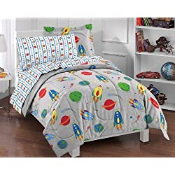 dream FACTORY Space Rocket Ultra Soft Microfiber Comforter Set, Multi-Colored, Twin