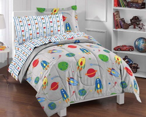 (Dream Factory Space Rocket Ultra Soft Microfiber Comforter Set, Multi-Colored, Twin)