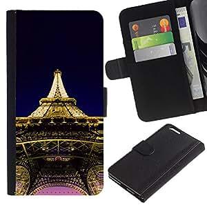 JackGot ( Architettura Torre Eiffel di Parigi ) Apple (5.5 inches!!!) iPhone 6+ Plus / 6S+ Plus la tarjeta de Crédito Slots PU Funda de cuero Monedero caso cubierta de piel