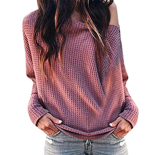 - Women Blouse Tops T-Shirt,Ladies Loose Casual Off Shoulder Long Sleeve Knit Sweater (2XL, Pink)
