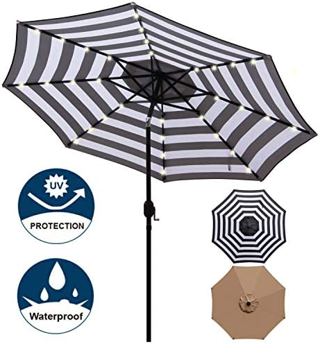 Blissun 9 ft Solar Umbrella, 32 LED Lighted Patio Umbrella, Table Market Umbrella, Outdoor Umbrella for Garden, Deck, Backyard, Pool and Beach Black and White