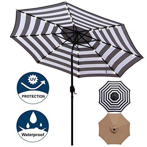Blissun 9 ft Solar Umbrella, 32 LED Lighted Patio Umbrella, Table Market Umbrella, Outdoor Umbrella for Garden, Deck, Backyard, Pool and Beach (Black and White) (Umbrella Patio Led)