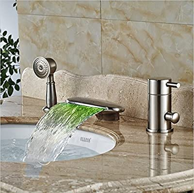 GOWE Brushed Nickel Bathroom Faucets and Shower LED Light Waterfall Bath Tub Mixer Taps Deck Mounted