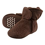 Hudson Baby Baby Cozy Fleece Booties with Non Skid Bottom, Brown, 0-6 Months