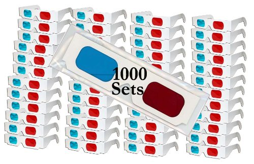 3D Red/Cyan Anaglyph Cardboard Glasses - 1000 Pair FOLDED - White Frame - High Quality