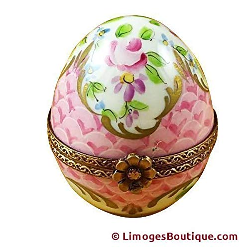 PINK EGG - LIMOGES PORCELAIN FIGURINE BOXES AUTHENTIC IMPORTS