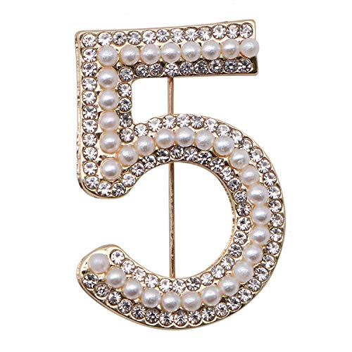 JETEHO Number Five Brooch Pin, Fashion Gold Tone Pin Badge with Imitation Pearls and Crystal - Number 5