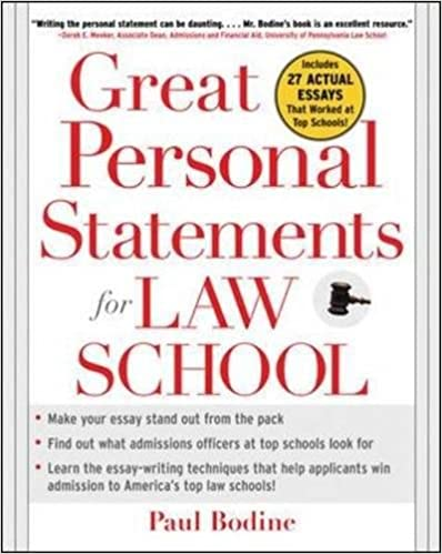 Great Personal Statements For Law School: Paul Bodine: 9780071453004:  Amazon.com: Books