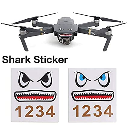 Moda DIY Drone Stickers Cool Shark Face Decals Skin Drone ...