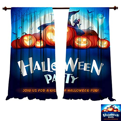 DragonBuildingMaterials Blackout Room Darkening Curtains Halloween Party Jack O Lantern Party Halloween Pumpkin Patch in The Moonlight 2 Living Room Bedroom Decor -