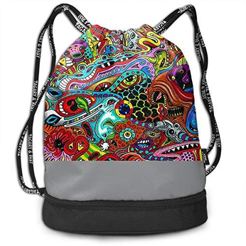 Gymsack Monster Multicolour Strange Print Drawstring Bags -