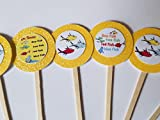 8 One Fish Two Fish Cupcake Toppers Favors Girl Boy Birthday Party Favor Tags Bags Dr Seuss