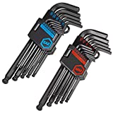 CARBYNE 26 Piece Long Arm Ball End Hex Key Wrench Set, Inch/Metric, S2 Steel