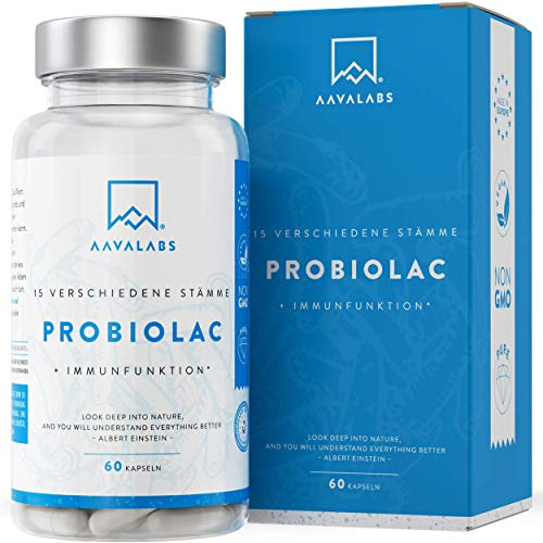 PROBIOLAC® Kulturen Komplex [60 Mrd KBE je Tagesdosis] - 15 Darmbakterien - 60 Vegan Kapseln für Darmflora - Enthält Lactobacillus Acidophilus und Milchsäurebakterien - 2 Monate Vorrat - Laborgeprüft
