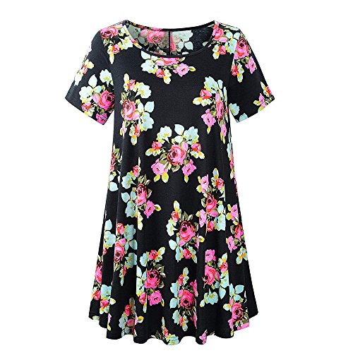 (HAALIFE◕‿Women's Plus Size Swing Tunic Top 3/4 Sleeve Floral Flare T-Shirt Black)