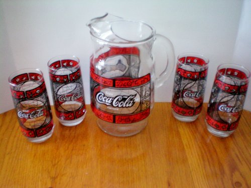 (Coca Cola Pitcher with 4 Glass Tumbler Glasses - Vintage)
