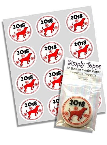 12 x 2018 Red Chinese New Year of the Dog Cupcake Toppers ( 40mm) Ricepaper Decoration -