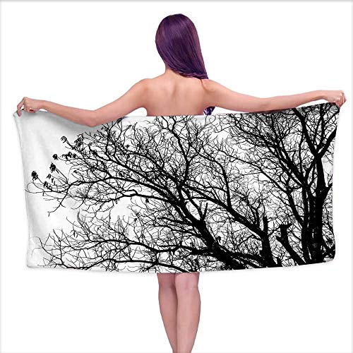 Glifporia White Bath Towels Bulk Nature,Leafless Autumn Fall Tree Branches Tops Oak Forest Woodland Season Eco Theme,Black and White,W20 xL39 for - Woodland Coat Oak Rack