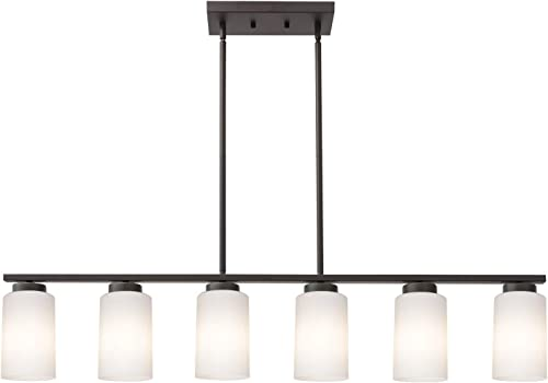TODOLUZ Modern Farmhouse Pendant Light with 6 Opal White Glass Shades for Kitchen Living Room in Rubbed Bronze