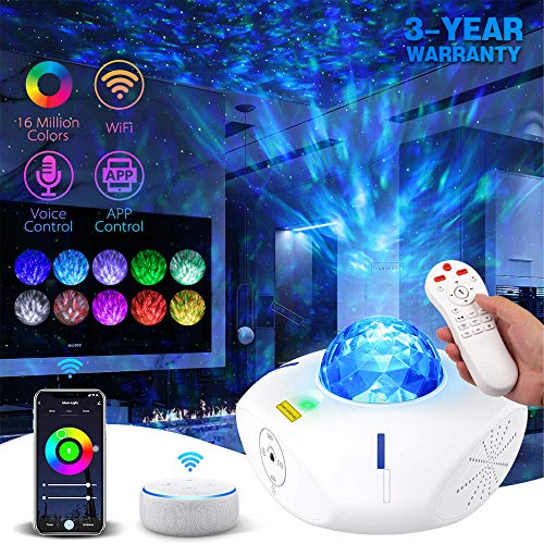 Lacoco WiFi Smart Star Projector Light, UFO LED Galaxy Projector Ocean Wave Night Light with Bluetooth Speaker Remote Voice Control for Party Bedroom Decoration, 16M Color Galaxy