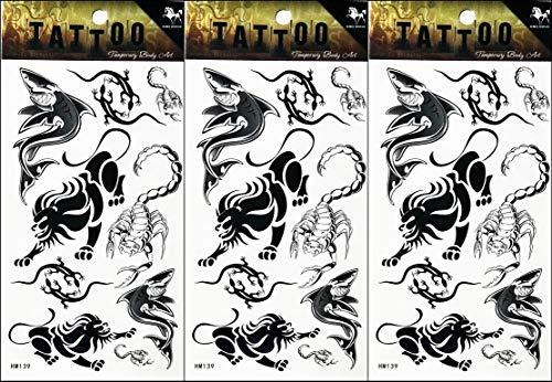 PP TATTOO 3 Sheets Lizard Lion Scorpion Shark Tattoo Sticker Temporary Tattoos Designs Fake Body Art Make up for Man Women Fashion Collection Popular