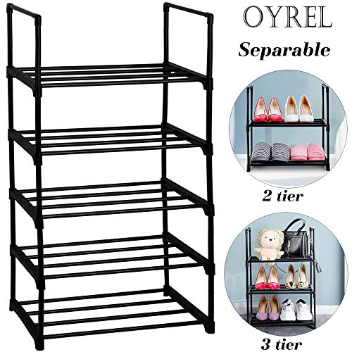 Shoe Shelf 5 Tier Shoe Rack for Small Space,Separable into Two Narrow Shoe Rack(2 Tier and 3 Tier), Sturdy Metal Shoe Rack Organizer, Small Shoe Rack,Shoe Racks for Closets,Shoes Rack,Shoe Stand