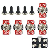 Automotive : E Support Car Univeral Heavy Duty 20A 125V DPDT 6P On/Off/On Rocker Toggle Switch Metal Waterproof Boot Cap 12mm Pack of 5