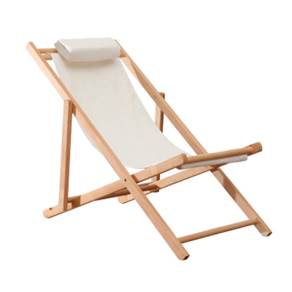JDGK - ラウンジチェア Ecliner折りたたみ椅子屋外バルコニー昼休み椅子ブナ木材リクライニングチェア怠惰なソファホームレジャーチェア無垢材ビーチチェア - 8974 B07T2G62P6