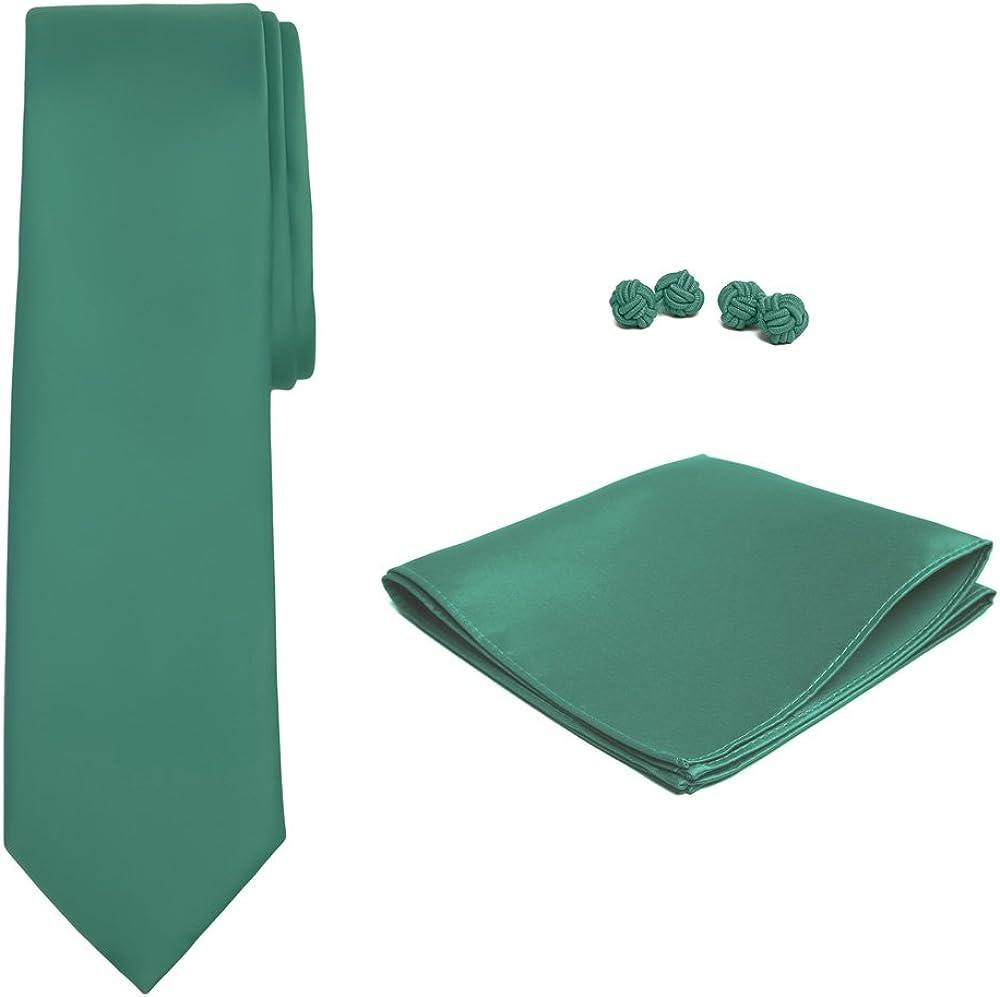 Jacob Alexander Solid Color Mens Tie Hanky and Cufflink Set