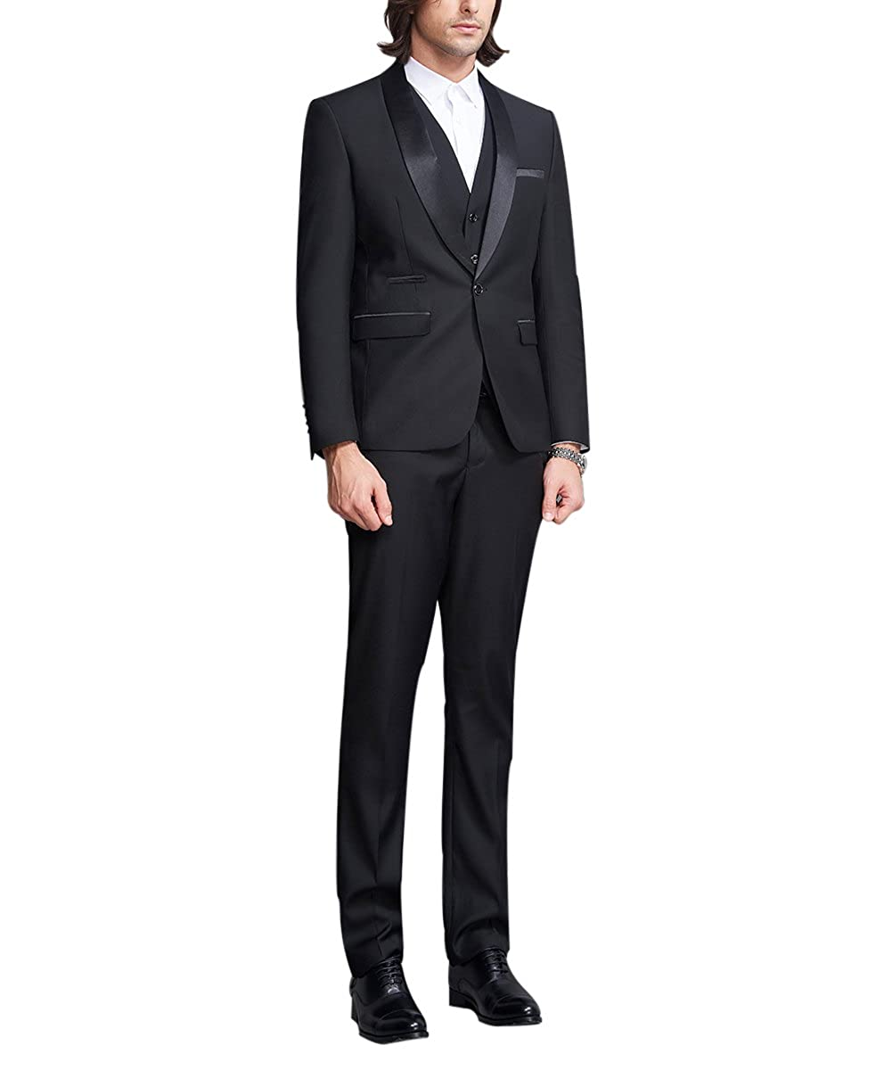 9aa82f3f363b Mens 3 Pieces Suits Wedding Tuxedo Dinner Suit One Button Black ...