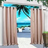 COFTY Indoor/Outdoor Curtains and Drapes Eco-friendly For Patio| Porch| Gazebo| Pergola | Cabana | dock| beach home - Nickle Grommet - Pink - 84Wx96L Inch (1 Panel)
