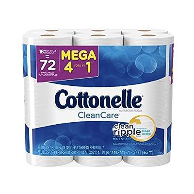 Cottonelle CleanCare Mega Roll Toilet Paper, Bath Tissue, 18 Count (Pack of 2)