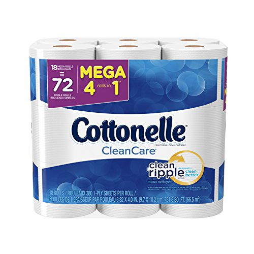 Single Tissue Ply Bathroom - Cottonelle CleanCare Mega Roll Toilet Paper, Bath Tissue, 18 Count (Pack of 2)