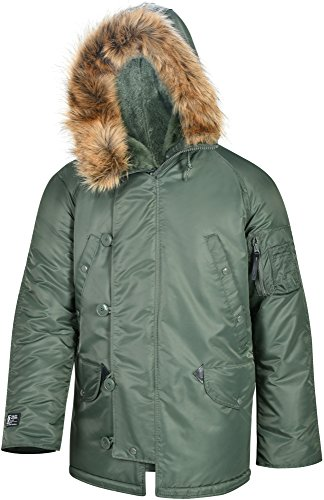 Valley Apparel LLC Made in USA Men's N3B Nylon Parka, Sage Green, -