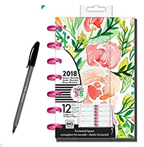 Blooms Dated Weekly (Create 365 2018 Mini Happy Planner, 12 Month Happy Planner bundled with Paper Mate Inkjoy Ballpoint Pen, Soft Blossoms)