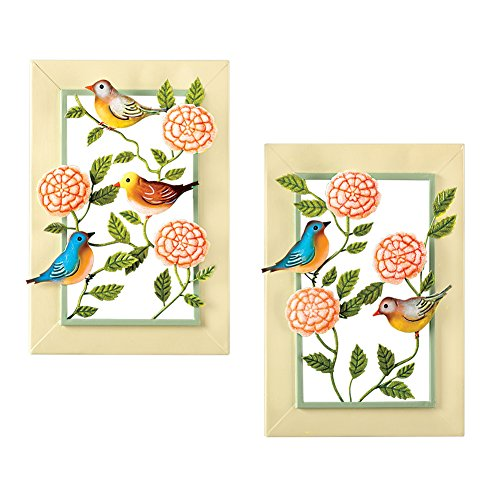 (Collections Etc Birds & Blooms Spring Theme Metal Wall Art Set - for Bedroom, Bath)