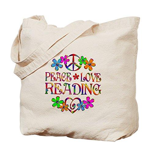 CafePress diseño de símbolo de la Paz Love lectura–Gamuza de bolsa de lona bolsa, bolsa de la compra