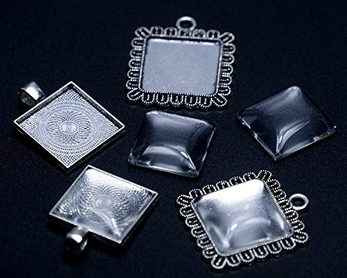 All in One - 20 piezas de marco de cabujón mezclado para manualidades (plata envejecida, cuadrado, 20 mm con cúpula)