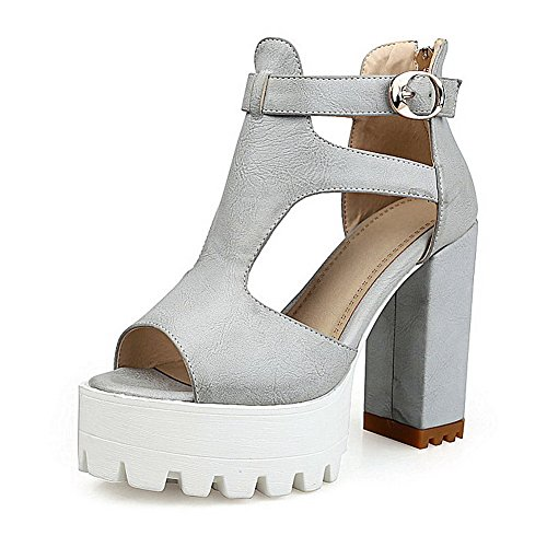 AllhqFashion Women's Zipper Open Toe High-Heels PU Solid Sandals Gray ZA3MSRa7