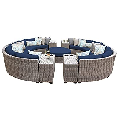 TK Classics FLORENCE-11b-NAVY 11 Piece Outdoor Wicker Patio Furniture Set, Navy - Thick cushions for a luxurious look and feel Cushion covers - washable and zippered for easy cleaning (air dry Only) Feet Levelers - Height adjusters for uneven surfaces that won't mar your patio or deck - patio-furniture, patio, conversation-sets - 51GaNGSBJFL. SS400  -